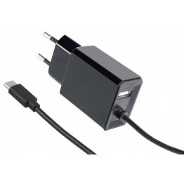 Caricatore con Cavo USB-C 3,4A Spina Europea 2 pin Nero